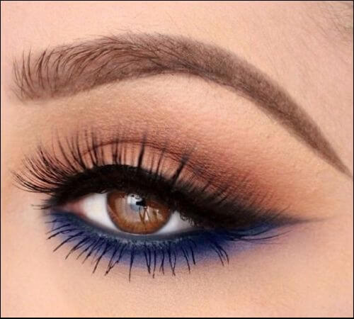 Lower smokey liner makeup style on a girl with brown eyes