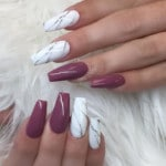 Coffin nails design with marble and dark nail polish