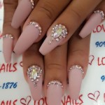nail designs with diamonds matte nude