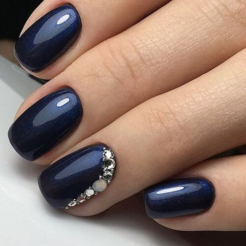 nail designs with diamonds navy blue shimmer