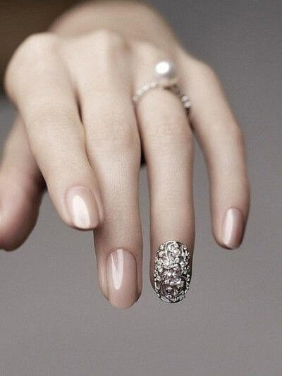 nail designs with diamonds wedding day