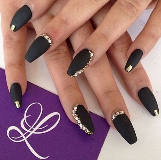 5 nail designs with rhinestones for a dazzling manicure nail designs with rhinestones black nails matte polish gold applications prinsesfo Images