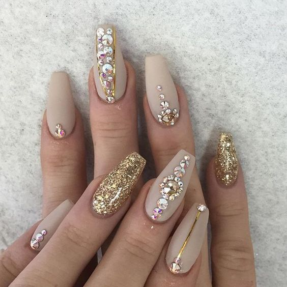 nail designs with rhinestones coffin nails with glitter and gold strands - 5 Nail Designs With Rhinestones For A Dazzling Manicure
