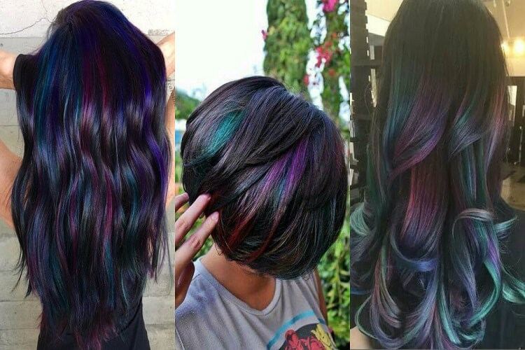 Three girls with oil slick hair