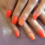 square nail designs acrylic orange polish