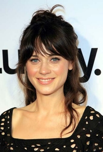 zooey best hairstyles for heart shaped faces