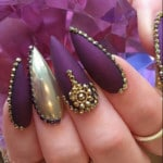 claw nail designs purple and gold