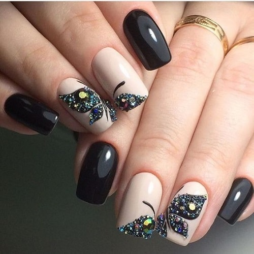 squoval nail designs butterfly - 5 Squoval Nail Designs To Try In 2017