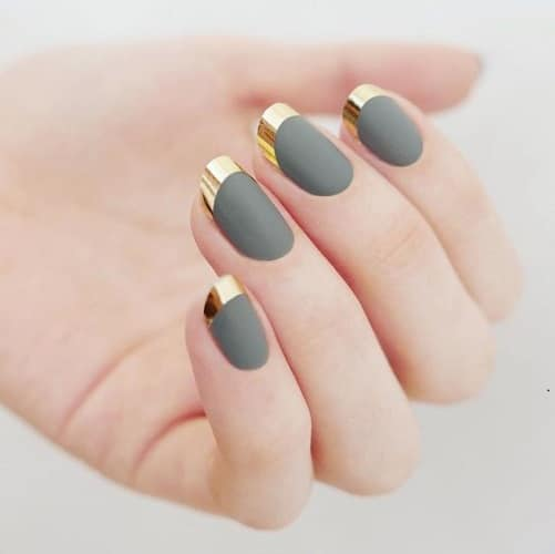 squoval nail designs gold french tips - 5 Squoval Nail Designs To Try In 2017