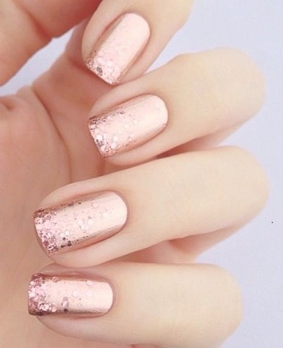 Squoval Nail Designs Rose Gold