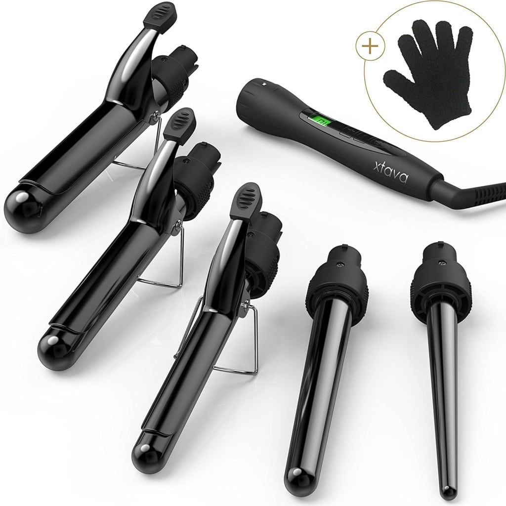 best curling irons xtava 5 in 1 Professional Curling Iron and Wand Set