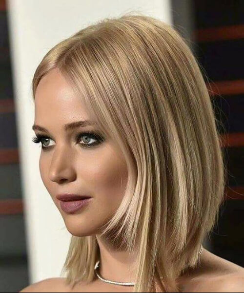 best hairstyles for round faces jennifer lawrence asymmetrical bob
