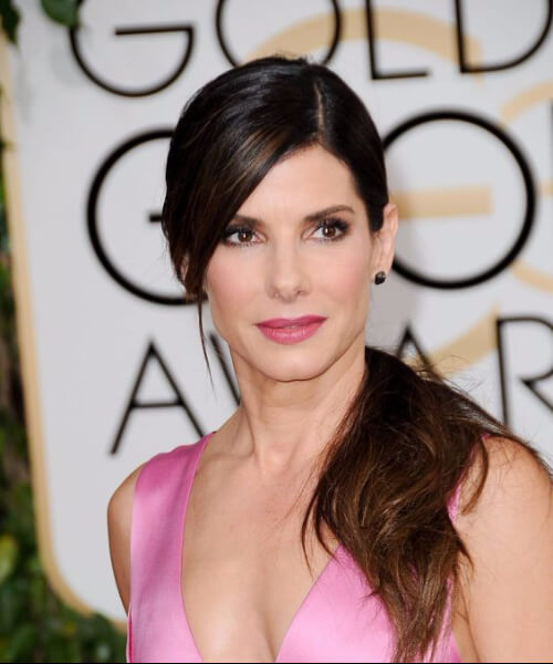 best hairstyles for square faces sandra bullock side part