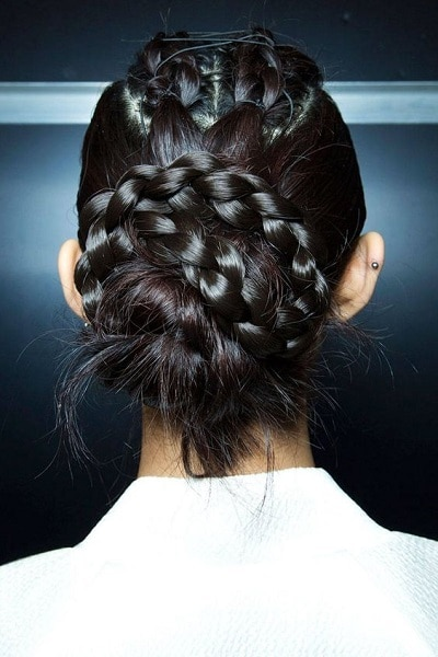 Braid pinned up together