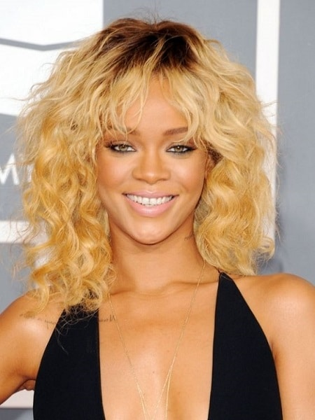 Rihanna with a blonde hairdo