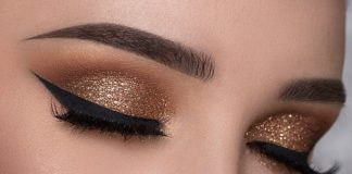 Glitter brown makeup look