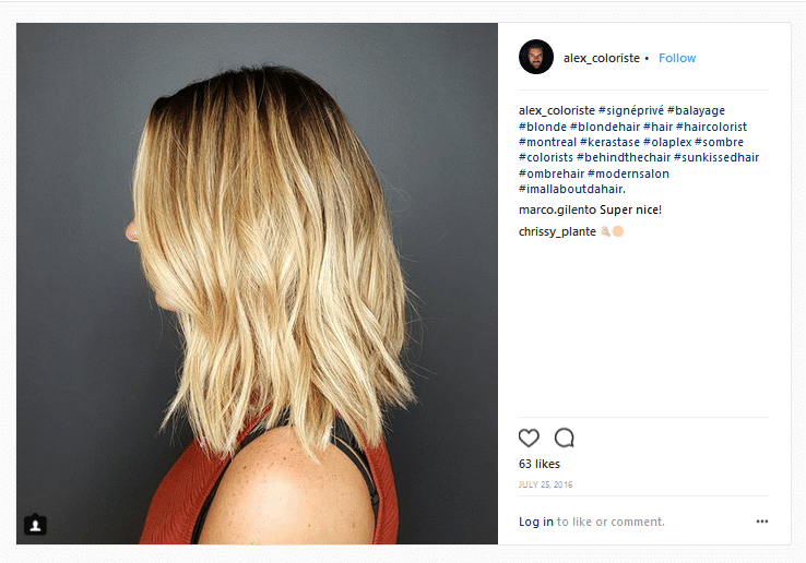 alexandre gregoire hair colorists instagram account