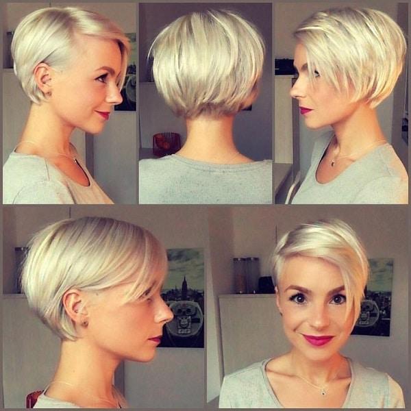 Woman wearing a blonde pixie bob
