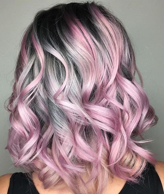 pink silver hair color ideas