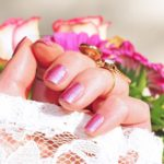 Ombre pink nails with roses