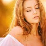 Blonde girl in the sun