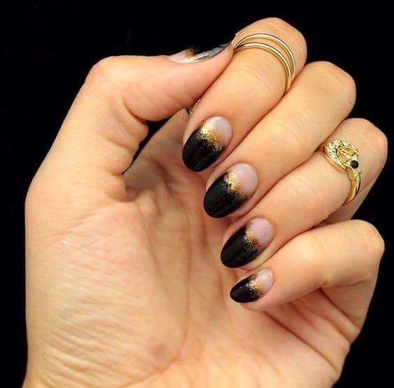 black and glittery half moon design