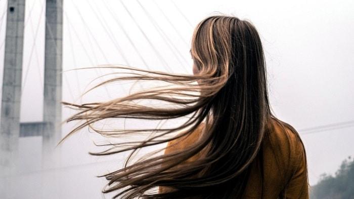 Hair flowing in the wind
