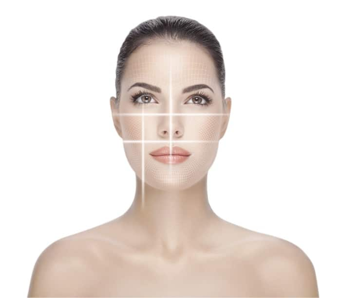 Woman with beautiful skin being analyzed