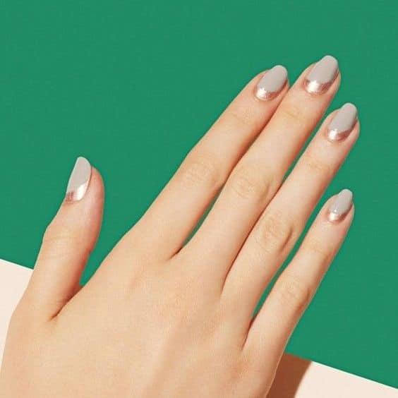 nude half moon manicure