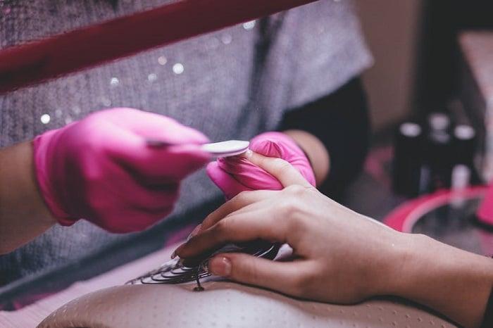 Woman at nail salon