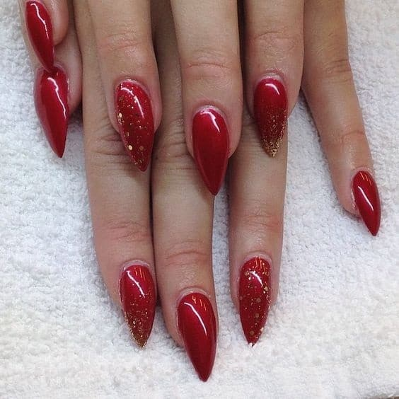 red with glitter design