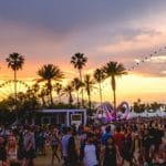 Coachella festival at sunset