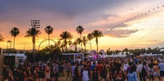 Coachella festival at sunset
