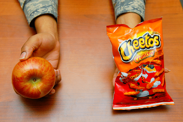 choice between junk food and fruit