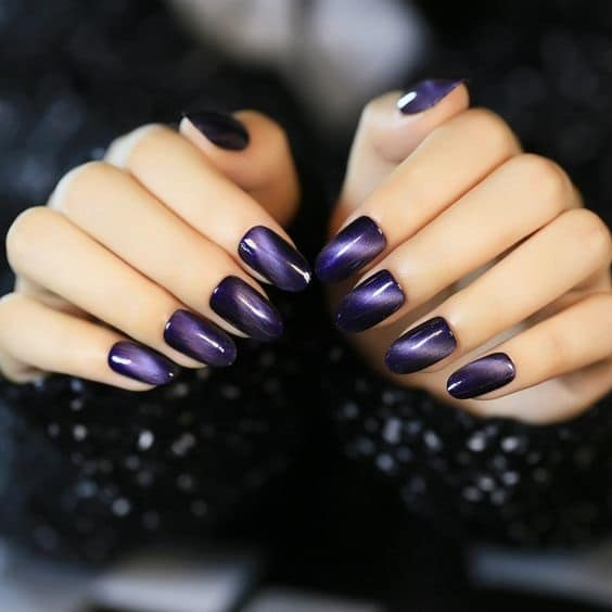 purple cat eye nails