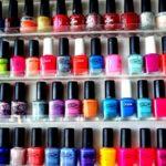 shelf full of nail polishes