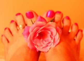 woman's feet holding pink rose