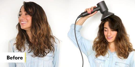 woman using the hair diffuser