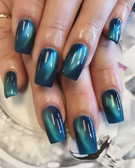 turquoise cat eye nails