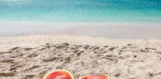 Watermelon on a beach