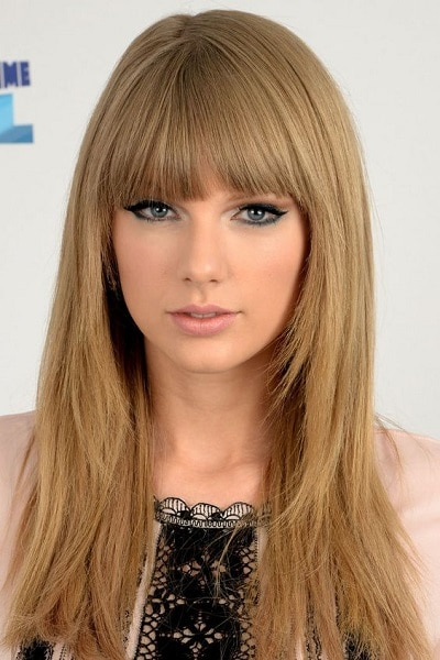 Taylor Swift with straight bangs
