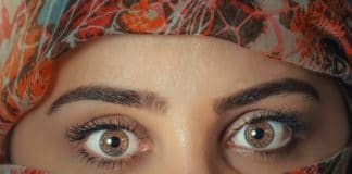 woman's beautiful eyebrows and eyes