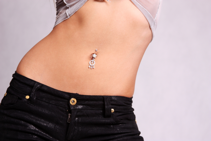 Piercings in woman's bally