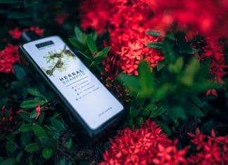Herbal anti dandruff shampoo in a flowery background