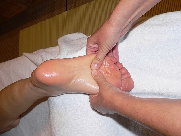 massaging foot